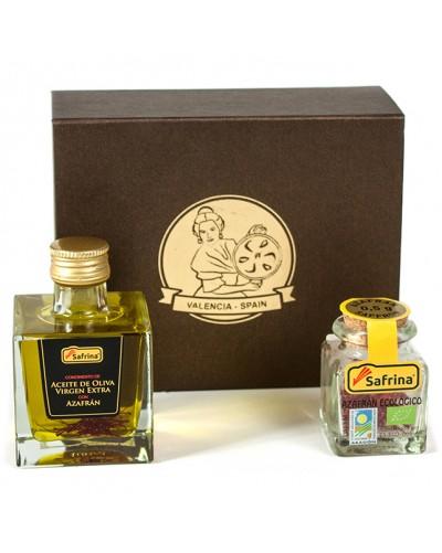 Gift box with oil and saffron filaments organic farmic